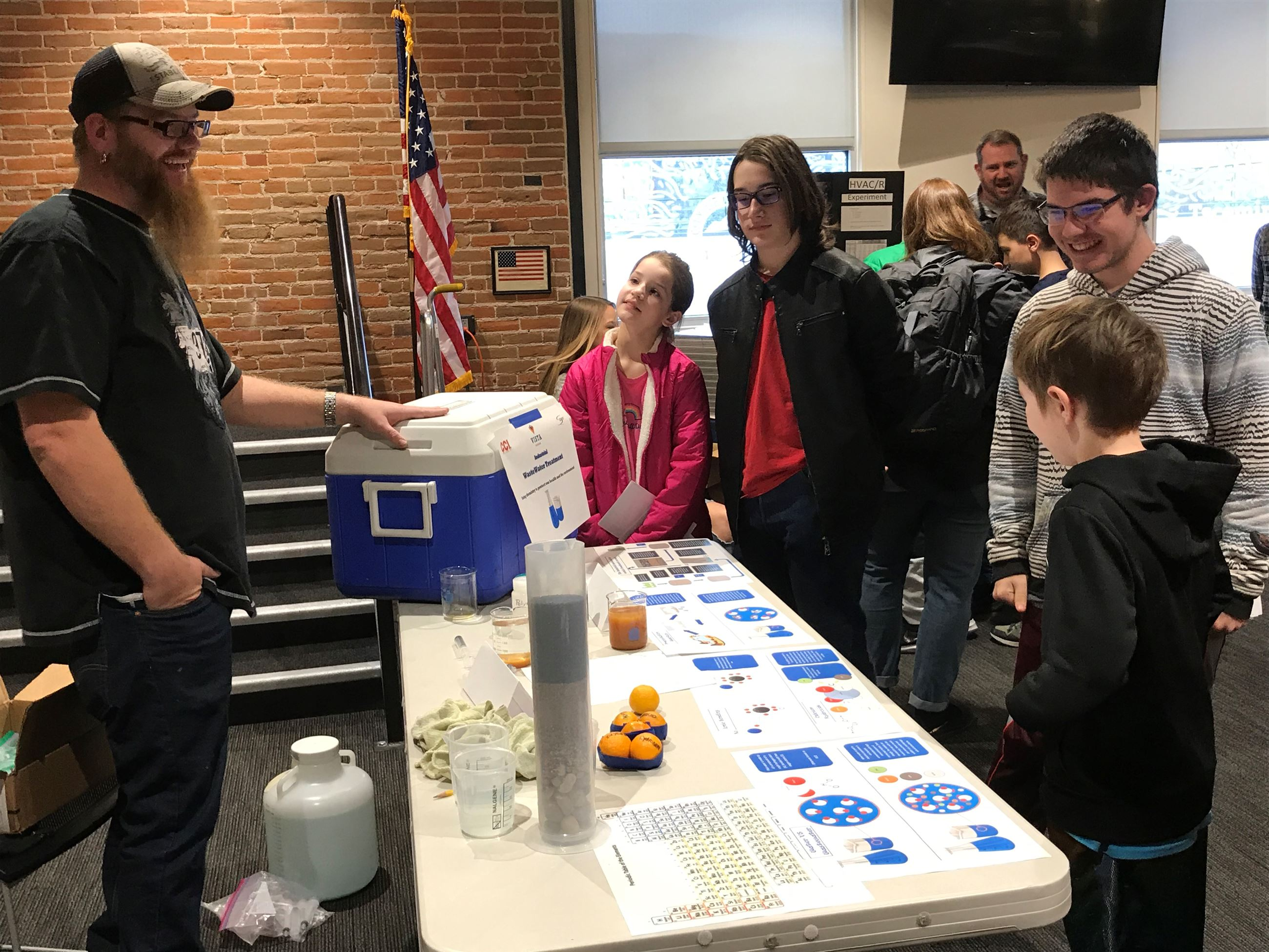 teens at the Vista waste water treatment booth