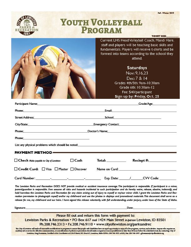 2019 Youth Volleyball Program